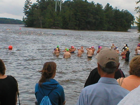 Waiting for the start - I'm the big guy in the back with the green swim cap on.