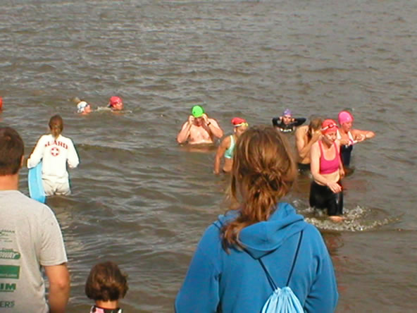 End of the swim.  That's me in the green cap.