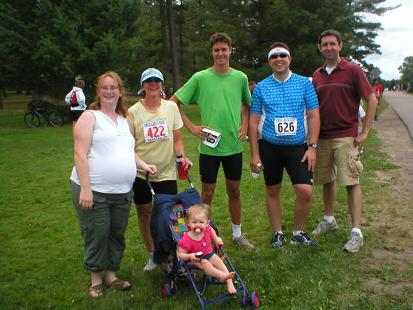 Jess, Mom, Ella, Marc, Me, and Jason after the tri.